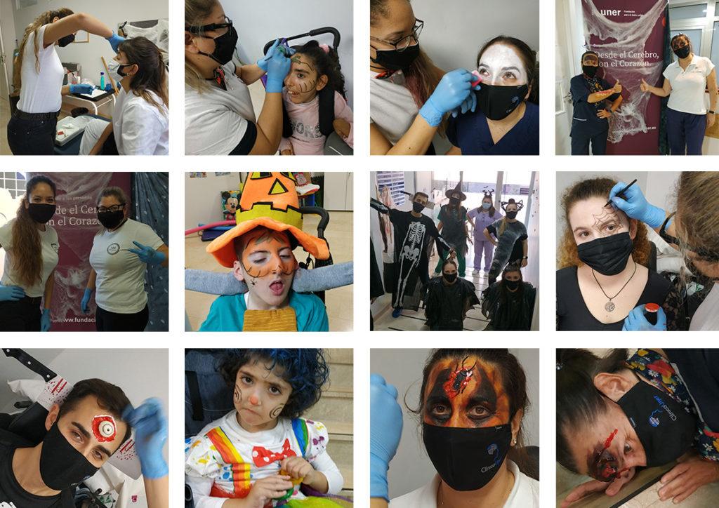 Varias imágenes del maquillaje de Halloween en Fundación Uner